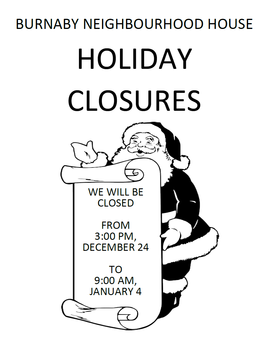 BNH Holiday Closure
