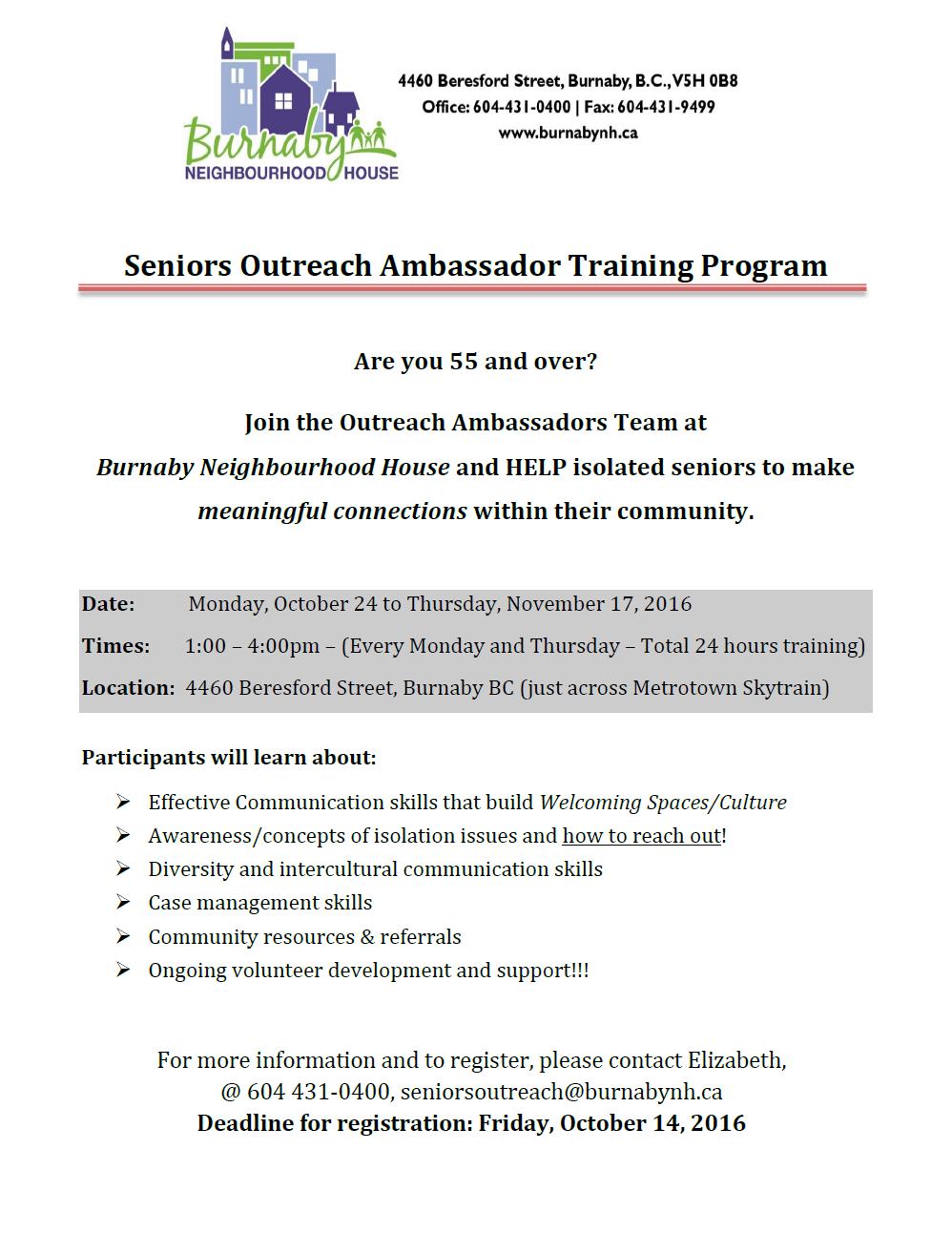 Seniors Outreach Ambassadors Training