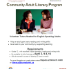 Community Adult Literacy Program: Volunteer Tutors Needed for English Speaking Adults