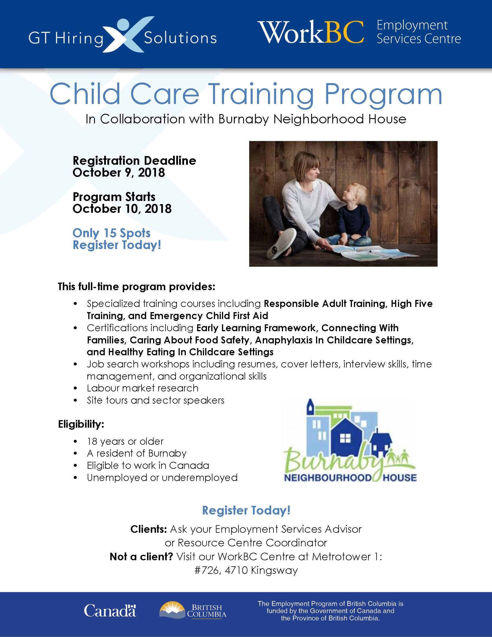 Burnaby Neighbourhood House Child Care Training Program